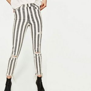 Zara Trafaluc Denim Striped Jeans Chewed Raw Hem 6